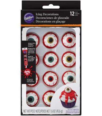 Wilton Halloween 12 pk Eyeball Royal Icing Decorations