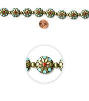 Blue Moon Strung Metal & Enamel Beads,Flat Round,Oxidized BrassFloral, , hi-res