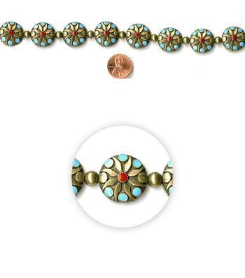 Blue Moon Strung Metal & Enamel Beads,Flat Round,Oxidized BrassFloral