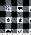 Snuggle Flannel Fabric-Camping White Black Buffalo Check