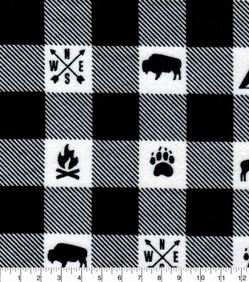 Snuggle Flannel Fabric-Camping White Black Buffalo Check