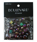 hildie & jo Boulevard 35 pk Mixed Glass Beads-Burgundy & Blue Iridescent