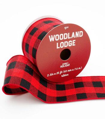Maker's Holiday Christmas Ribbon 2.5''x25'-Red & Black Buffalo Checks