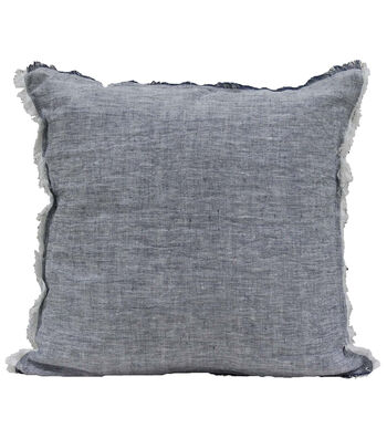 Camp Ann 18''x18'' Linen Pillow-Blue