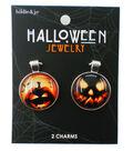 hildie & jo Halloween 2 pk Round Charms-Pumpkin