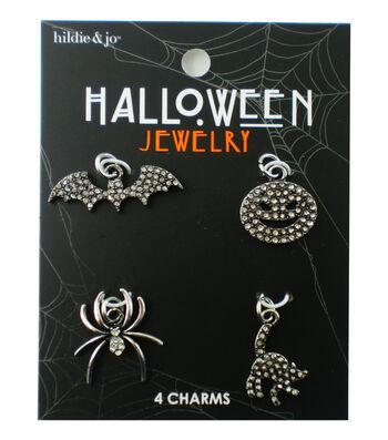 hildie & jo Halloween 4 pk Charms-Silver