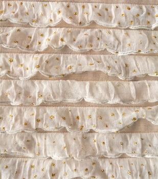 Glitterbug Ruffle Knit Fabric -White & Gold Glitter