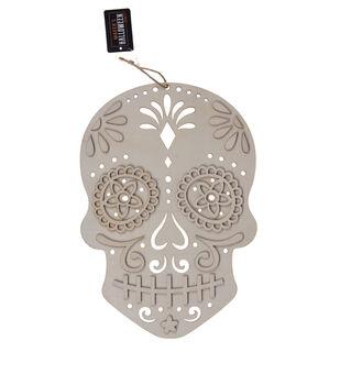 Maker's Halloween Craft 8''x0.32'' Wooden Sugar Skull-Day of the Dead