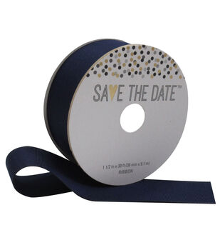 Save the Date 1.5'' X 30' Ribbon-Navy Grosgrain