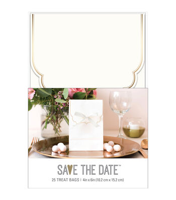 Save the Date 25 pk 4''x6'' Treat Bags with Ribbon Roll-Gold