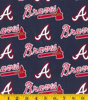 Atlanta Braves Cotton Fabric 58''-Logo, , hi-res