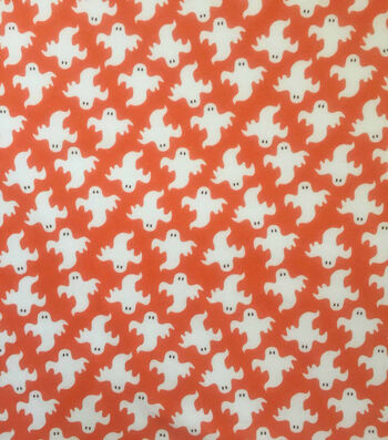 "Halloween Cotton Interlock Fabric 57""-Orange & White Ghosts"