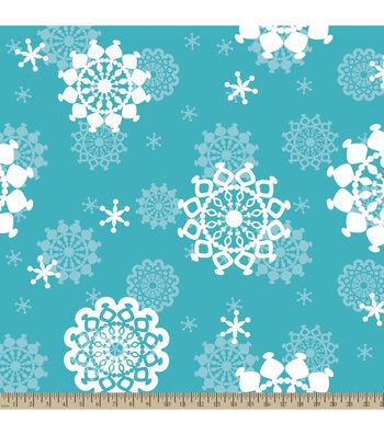 "Anti-Pill Fleece Fabric 59""-Snowflakes"