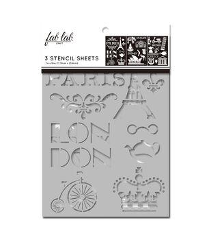 Fab Lab 3 pk 7''x10'' Stencil Sheets-Travel Destinations