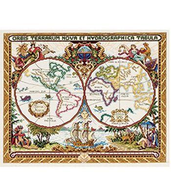 Janlynn Platinum Collection Olde World Map Cntd X-Stitch Kit