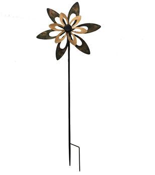 In the Garden 17.75''x48'' Metal Double Flower Garden Spinner