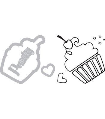 Sizzix Framelits Katelyn Lizardi Die & Stamp Set-Cupcake