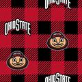 Ohio State Buckeyes Fleece Fabric-Buffalo Plaid
