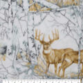 Anti-Pill Plush Fleece Fabric-Realistic Deer In Woods