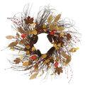 Blooming Autumn Pinecone, Dried Leaf & Lantern Wreath