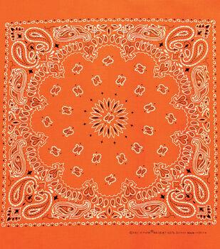 Carolina 21''x21'' Cotton Bandana-Neon Orange Paisley