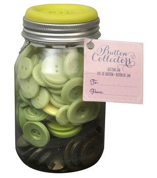 Button Collector Mason Jar-Green Ombre