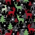 Christmas Cotton Fabric-Patterned Deer on Black