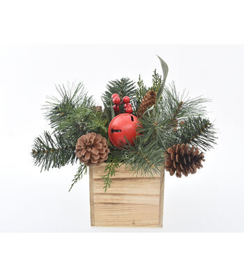 Blooming Holiday Christmas 10'' Berry, Bell & Pinecone Arrangement