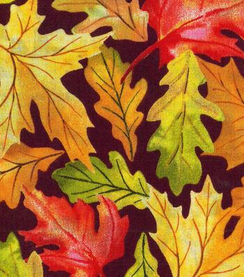 "Harvest Cotton Fabric 43""-Large Leaves"