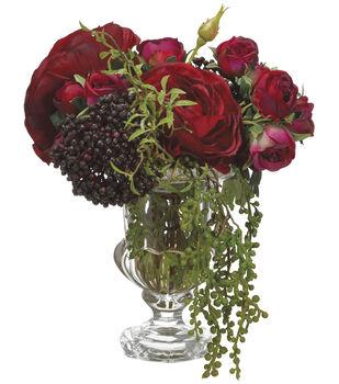 Roses & Ranunculi in Glass Vase 11''-Burgundy & Green