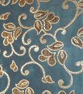 Brocade Scroll Aqua Gold Met