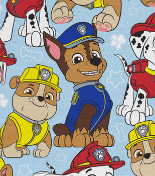 """Nick Junior Paw Patrol Cotton Fabric 44""""-Packed on Blue"""