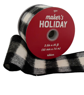 Maker's Holiday Flannel Ribbon 2.5''x25'-Black & White Buffalo Checks