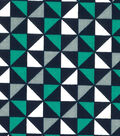 Quilter\u0027s Showcase Fabric -Pool Green & Navy Geometric