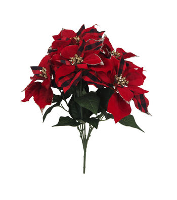 Blooming Holiday Christmas 21'' Buffalo Check Poinsettia Bush-Red