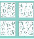 Hampton Art 12X12 Stencils-Alpha Upper Calligraphy