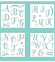 Hampton Art 12X12 Stencils-Alpha Upper Calligraphy, , hi-res