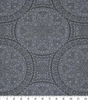 Wide Flannel Fabric-Gray Mediallion