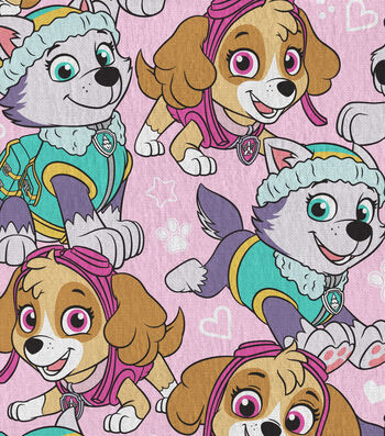 "Nick Junior Paw Patrol Cotton Fabric 44""-Packed on Pink"