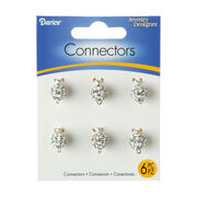 White Pavé Bead Jewelry Connectors w/Clear Crystals, 10mm, 6pc/pkg, , hi-res