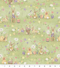 Susan Winget Easter Fabric-Meadow Bunnies Green