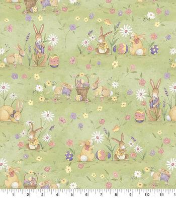 Susan Winget Easter Fabric-Meadow Bunnies Green