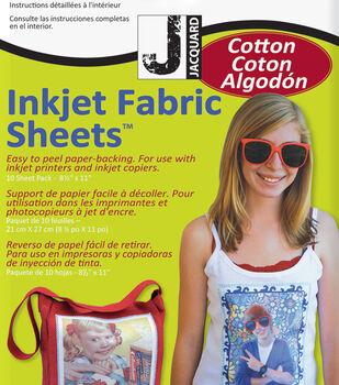 Jacquard 10 pk 100% Cotton Percale Inkjet Fabric Sheets 8.5''x11''