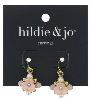 hildie & jo Pink Flower Gold Earrings-Pearls, Beads & Crystals