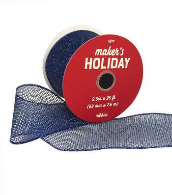 Maker's Holiday Christmas Glitter Mesh Ribbon 2.5''x25'-Navy Blue