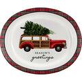 Handmade Holiday Christmas 8 pk Oval Paper Platters-Tartan & Truck