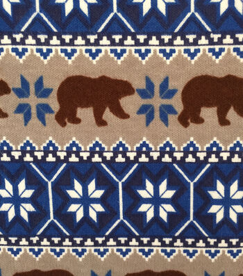 Doodles Juvenile Apparel Fabric -Fairisle Brown Bear Interlock