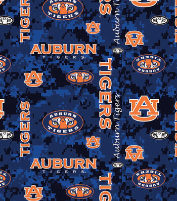 Auburn University Tigers Fleece Fabric -Digital Camo