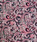 Cotton Shirting Fabric 57\u0027\u0027-Red Paisley on Black