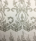 Save The Date Heavily Beaded Embroidery Fabric-White